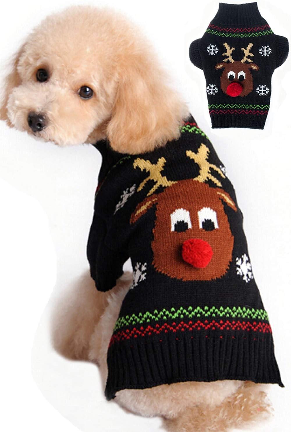 BOBIBI Jacksonville Mall Dog Sweaters Sale for Christmas Pet Winte Cartoon Reindeer Cat