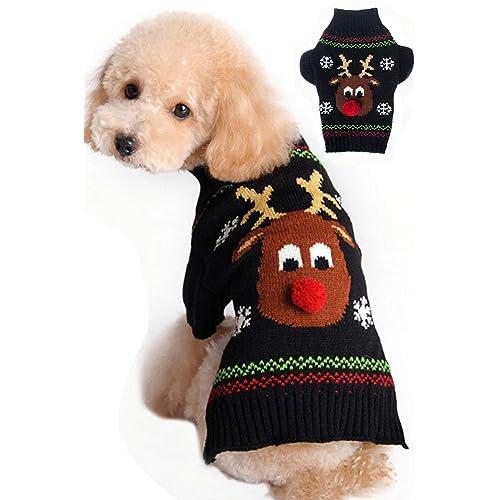 BOBIBI Dog Sweaters Christmas Cartoon Reindeer Pet Cat Winter Knitwear Warm  Clothes - Pet Christmas Clothes: Amazon.com