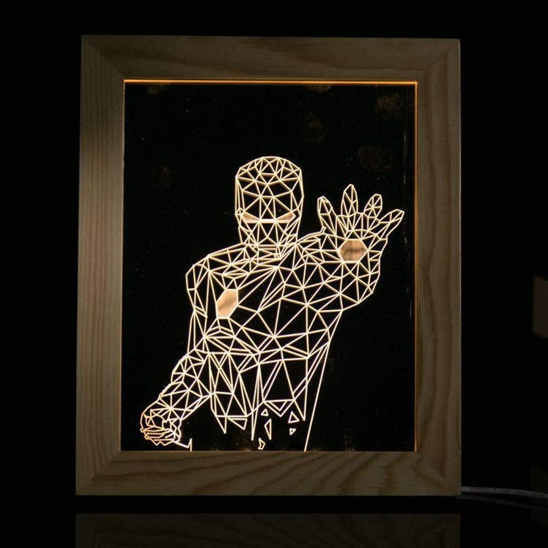 Kreative Mode 3D LED Tischleuchte Massivholz Weihnachten 3D Geschenk Lampe Nachttischlampe Bilderrahmen leuchtet Geburtstagsgeschenke, Headset