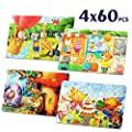 Puzzles for Kids Ages 4-8, Jigsaw Puzzles for Kids Ages 4-8 in Tin Storage Boxes, Great Value 4-Pack Educational Animal Theme Puzzles 60 Pieces for Boys & Girls