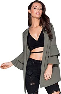 Momo&Ayat Fashions Ladies Flute Frill Sleeve Collar Oversized Jacket US Size 4-10