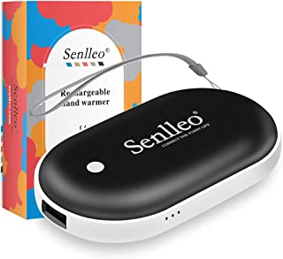 Senlleo Rechargeable Hand Warmer, 5200mAh PowerBank : Larger Capacity and Double-Sided Pocket Warmer Compatible with iPad iPhone Samsung All Android Smartphone, Winter Gift for Men Women
