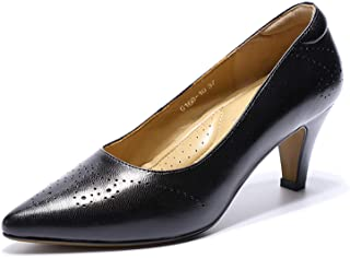 Women Leather Pumps Dress Shoes Med Heel Pointed Toe High...