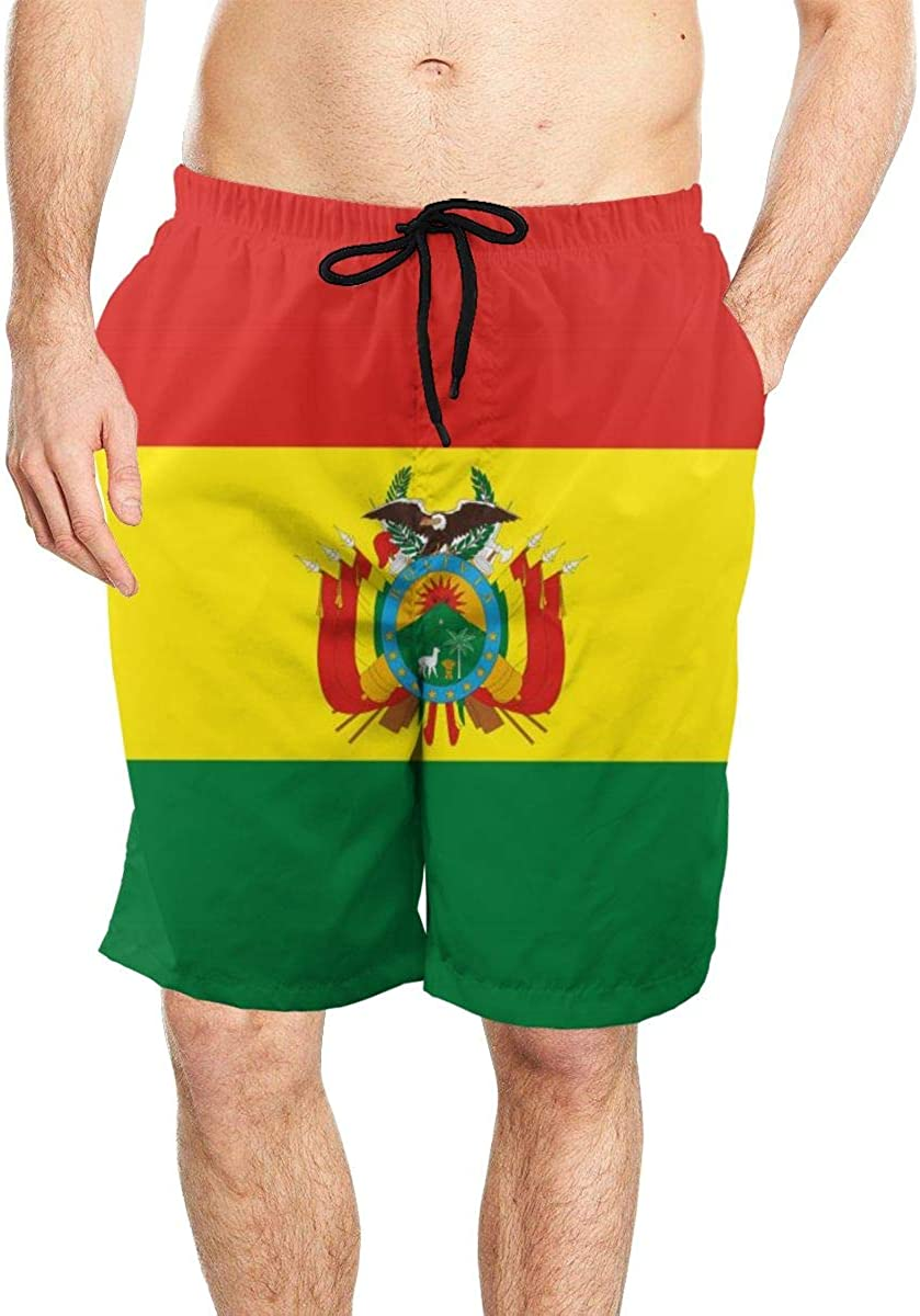 DASMUS Flag of Bolivia with Coat of Arms Mens Quick Dry Beach Board Shorts Swim Trunks with Mesh Lining