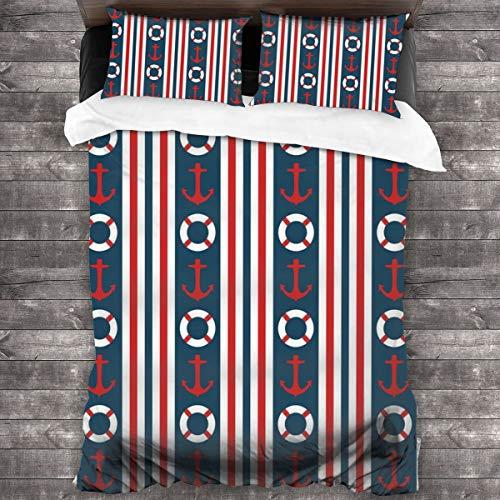 Qing_II Juego de cama de 3 piezas, bordes verticales, rayas, diseño de volante, ancla, funda de edredón de microfibra suave, 1 funda de edredón (86 x 70 pulgadas) y 2 fundas de almohada (20 x 30 pulgadas)