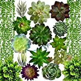 Artificial Succulent Plants Fake Decorations|Airbin Pack of 17 Fake Succulents, Large Quantity and Long Length Succulent Craft Suitable for Different Locations in Home and Office