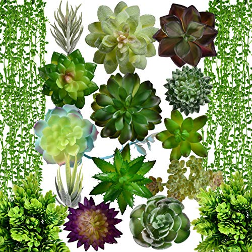 Artificial Succulent Plants Fake Decorations|Airbin Pack of 17 Fake Succulents, Large Quantity and...