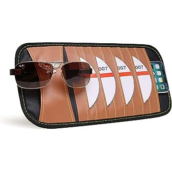 Womdee Car Sun Visor Holder Car Storage Pen Clip Holder Brown Car Visor Organizer