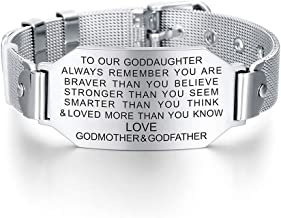 FALOGIJE to My Goddaughter Always Remember You are Braver Bracelet First Communion Gift from Godmother Godfather