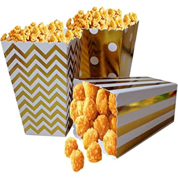 Amazon Com Popcorn Boxes Gold Stamping Trio 36 Pack Polka Dot Chevron Stripe Treat Boxes Small Movie Theater Popcorn Paper Bags For Dessert Tables Wedding Favors Kitchen Dining