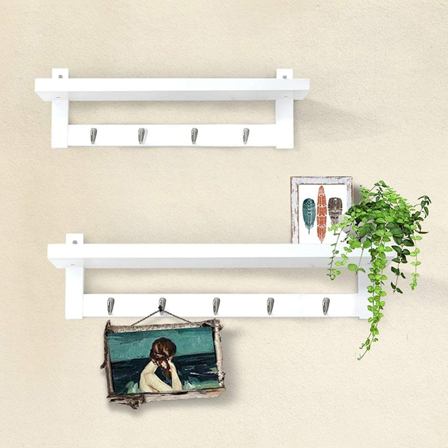 DYR Solid Wood Coat Rack Combination of Wall Shelves Decorative Frame Portico Sturdy and Resistant Coat Hanger (color  White)