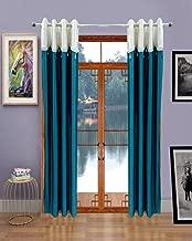 Homefab India's Set of 2 Designer Aqua Blue Long Door Curtains (HF158) 8X4ft.