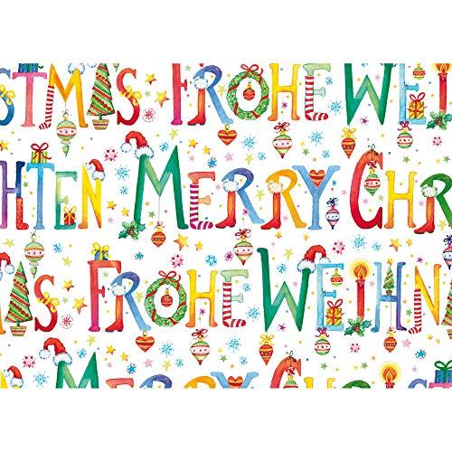 Susy Card - 40028729 - Rotolo di carta da regalo, motivo natalizio Scribbed Circles, 2 m, colore: grigio, 1 pezzo Buona resistenza.