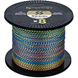 Sougayilang 8 Strands Braided Fishing Line 17LB-170LB Abrasion Resistant Braided Lines Incredible Zero Stretch Fishing line-60 LB (Multicolor) 0.324mm-383 Yds