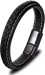 University Trendz Genuine Leather Black with Stainless Steel Magnetic Clasp Bracelet for Mens & Boys(Multi Color)