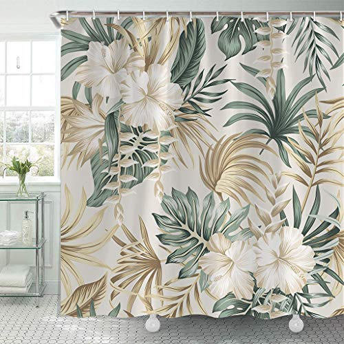 Tropical Shower Curtain, Sage Green Floral Foliage Palm Leaves Hbiscus Flower Shower Curtain with 12 Hooks 71 x 71Inch, Beige Fabric Shower Curtain, Summer Bathroom Decor