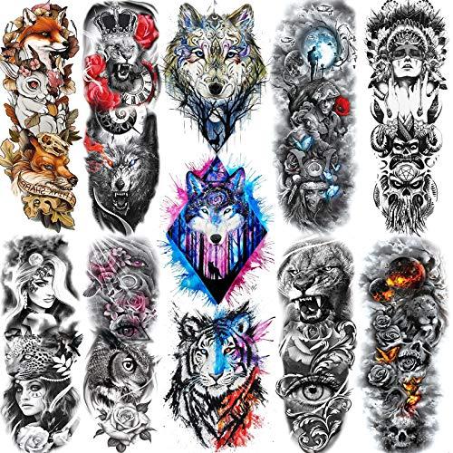 11 Sheets NEZAR 3D Watercolor Lion Wolf Tiger Large Animals Full Arm Temporary Tattoos Sleeves For Men Women Kids Custom Fox Rose Tatoo Paper Leg Arm Waterproof Tribal Leopard Fake Tattoos Sticker