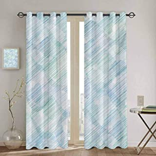 DONEECKL Modern Window Curtain Abstract Geometrical Futuristic Modern Image Stripes and Unknown Background Waterproof Fabric W42 x L45 inch Blue and White