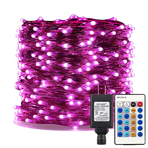 ER CHEN Pink LED String Lights Plug in, 99ft 300 LED Long Fairy Lights Dimmable with Remote, Indoor/Outdoor Silver Coated Copper Wire Decorative Lights for Bedroom, Patio, Garden, Yard
