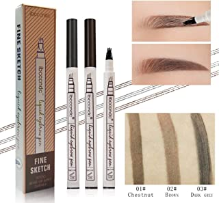 EasyOh Tattoo Eyebrow Pen with Three Tips a Micro-Fork Tip Applicator Creates Natural Looking Brows Effortlessly and Stays on All Day-DK.GREY
