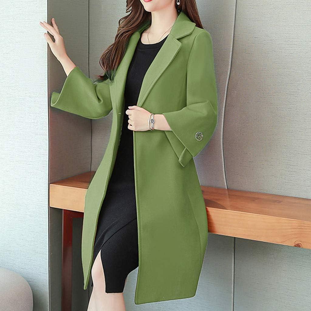 Yowablo Damen Herbst Winter Jacke Lässige Outwear Parka Cardigan Schlank Solid Mantel Frauen Elegant mit Knopf Grün