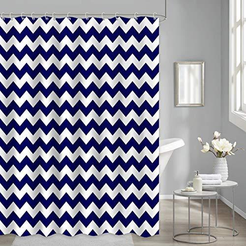 Navy Blue Shower Curtain for Bathroom, Chevron Striped Navy Blue Geometric Fabric Shower Curtain