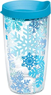 Tervis 1173287 Snowflakes Tumbler with Wrap and Turquoise Lid 16oz, Clear