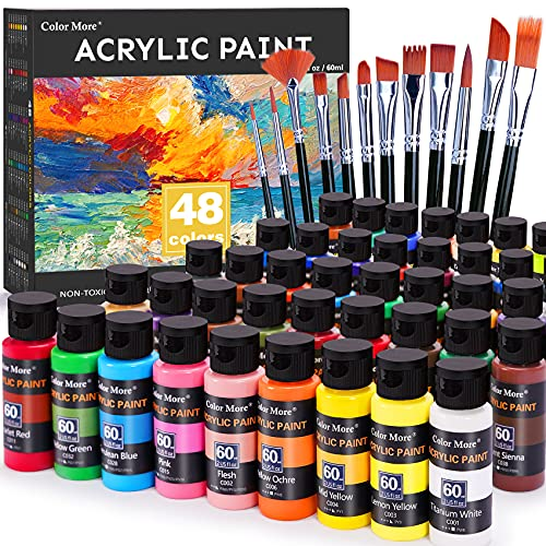 Acrylic Paint Set 48 Colors(2oz /60ml) with 12 Brushes,Rich Pigmented, Premium...