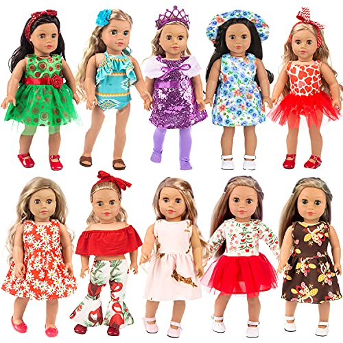 ZITA ELEMENT 22 Pcs American 18 Inch Girl Doll Clothes Outfits Including 10 Complete Set of 18 Doll Dress Swimsuits Clothing with Accessories - Hair Bands, Hair Clips, Crown, Hat