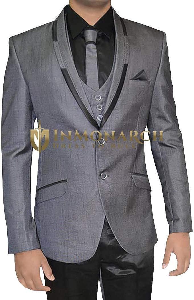 INMONARCH Mens Gray 6 pc Tuxedo Suit Indian Wedding TX11259