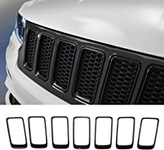 Partol Front Grille Inserts Grill Cover Trim Kit Compatible with Jeep Grand Cherokee 2014 2015 2016 (Black, 7pcs)