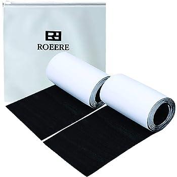 ROEERE 面ファスナー 両面テープタイプ 超強力 粘着 オスメスセット 大容量 11cm×1m(ブラック)