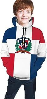 FJUT Jhf Teen Kids Dominican Republic Flag Hooded Sweatshirts Long Sleeve Pullover Hoodies for Boys Girls
