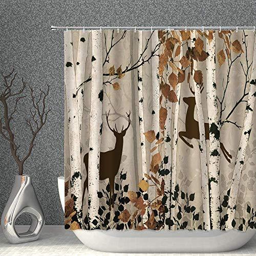 Rnwen Duschvorhang Herbstwalddekor Duschvorhang Aquarell Herbstbirken mit Rehe Silhouette Stoff Polyester Badezimmer Gardinen mit Haken 70x70 Zoll Size : 70x70 Inch(180x180cm)