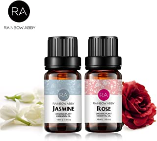 Rose Jasmine Essential Oil Set Aromatherapy 100% Pure Organic Oils for Diffuser, Massage, Skin- 2 x 10ml