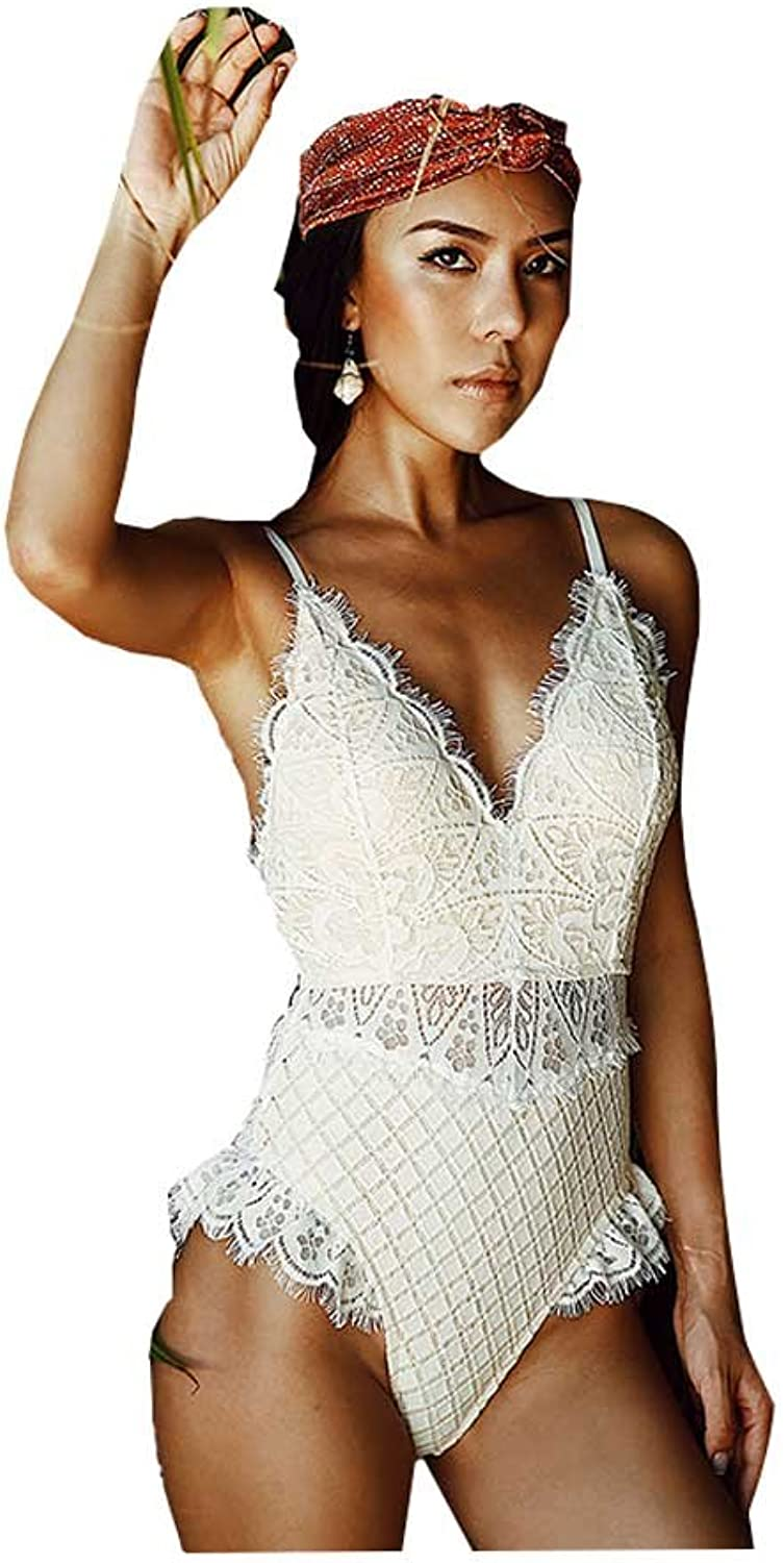 White Swimsuit Female Conservative Cover Belly Slim Backless Sexy Lace Siamese Swimming (color   White, Size   M)