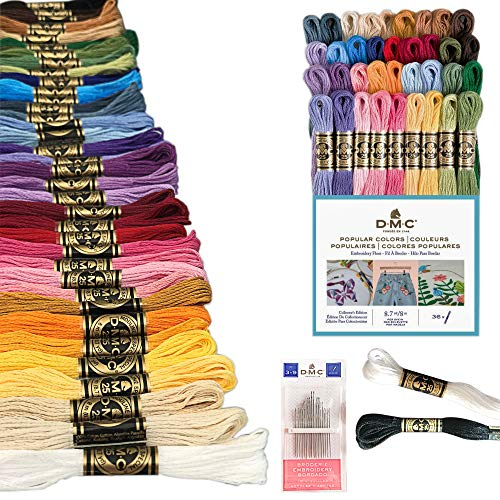 DMC Embroidery Floss Pack, Popular Colors, DMC Embroidery Thread, DMC Floss Kit Include 36 Assorted Color Bundle with DMC Mouline Cotton White/Black and DMC Cross Stitch Hand Needles.