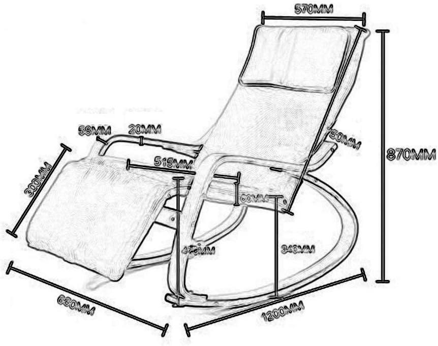 YLCJ Rocking Chair Lazy Wood Chaise de Sieste pour Adultes Chaise de Balcon avec Fauteuil Pliable (Couleur: A) A