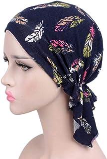 HLIYY Femme Bonnet Musulmanes Chic Coiffe Foulard Chapeaux avec pour Perte de Cheveux Cancer Chimio Turban pour Cancer Perte de Chimiothérapie Turban Foulard Islamique de Nuit Femme Accessoires