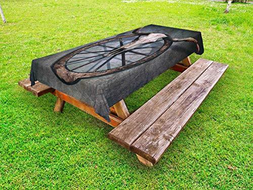 ABAKUHAUS Wagenrad Outdoor-Tischdecke, West-Schädel, dekorative waschbare Picknick-Tischdecke, 145 x 265 cm, Mehrfarbig