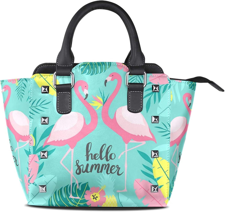 My Little Nest Women's Top Handle Satchel Handbag Hello Summer Two Cute Flamingos Ladies PU Leather Shoulder Bag Crossbody Bag