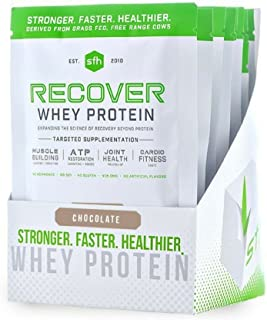 Recover Whey Protein Powder (Chocolate) by SFH | Great Tasting 100% Grass Fed Whey for Post Workout | All Natural | No Soy, No Gluten, No RBST, No Artificial Flavors (Single Serve)