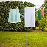 Parkland 50m Rotary Airer Clothes Line With 4 Arms For Laundry Drying Washing Outdoors Garden | Heavy Duty | Washing Line With Free Ground Spike and Cover