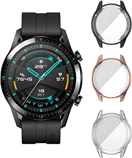[3 Pièces] ELYCO pour Huawei Watch GT 2 46mm Protecteur D'écran Coque, [Anti-Rayures] Couverture Totale TPU Bumper Case Pr...