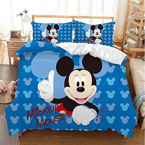 QWAS Juego de ropa de cama de Mickey Minnie Mouse, mullida y suave, con un bonito diseño, 3 piezas, regalo para niños, de alta calidad (X01, 140 x 210 cm + 80 x 80 cm x 2)