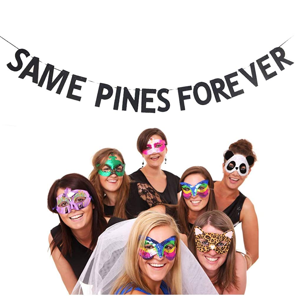 Glitter Same Pines Forever Banner Bachelorette Party Decorations Hen Night Party Photo Prop Supplies (Black)