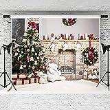 Kate 7x5ft Christmas Photography Backdrop White Brick Fireplace Bear Christmas Tree Backgrounds Children Photography