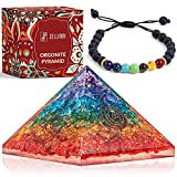 7 Chakra Pyramid: Our orgone pyramid incorporates 7 stones and crystals with healing powers to help you open your chakras and find inner peace. The pyramid has violet, indigo, blue (aquamarine), green, yellow, orange, red crystal onyx, smudged with e...