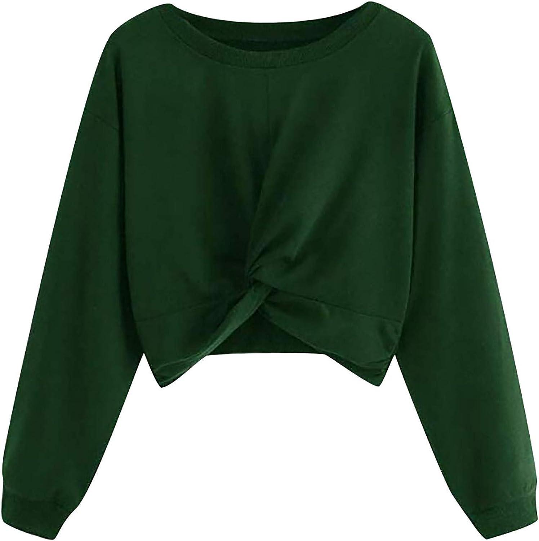 Crop Sweatshirts for Women Max 54% OFF Long Sleeve T-Shirt Front Tee Max 51% OFF Twist W