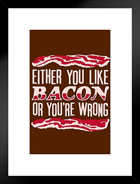 Either You Like Bacon Or Youre Wrong Humor Poster 24x36 inch